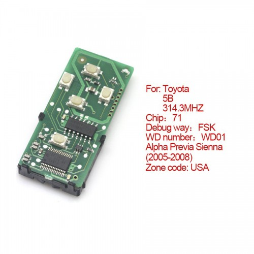 smart card board 5 buttons 314.3MHZ number :271451-6221-USA for Toyota