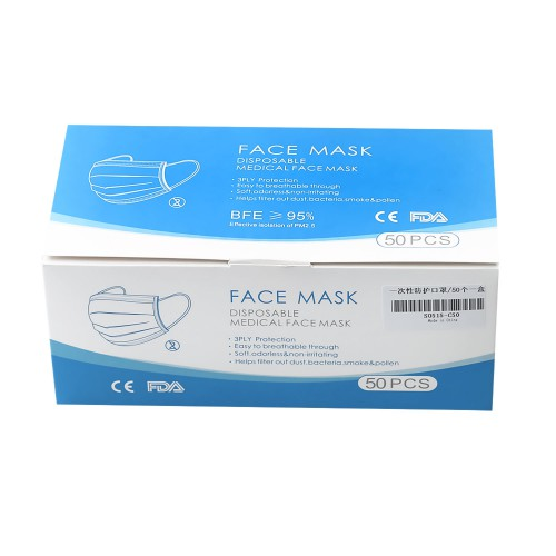 Hang-on Ear  Disposable Face Mask Three Layers of Protection Effectively Stop Bacterial Attack 50 PACK Free Shipping