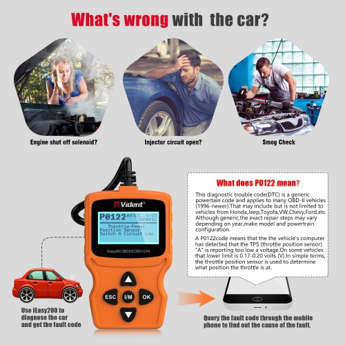 VIDENT iEasy200 OBDII/EOBD+CAN Code Reader for Vehicle Checking Engine Light Car Diagnostic Scan Tool
