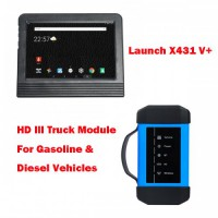 Launch X431 V+ Global Version Bi-Directional Diagnostic Scanner and HD3 HD III Truck Module for Gasoline and Diesel Vehicles