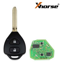 XHORSE XKTO05EN Wired Universal Remote Key Toyota Style Flat 2 Buttons for VVDI VVDI2 Key Tool English Version 5 pcs/lot