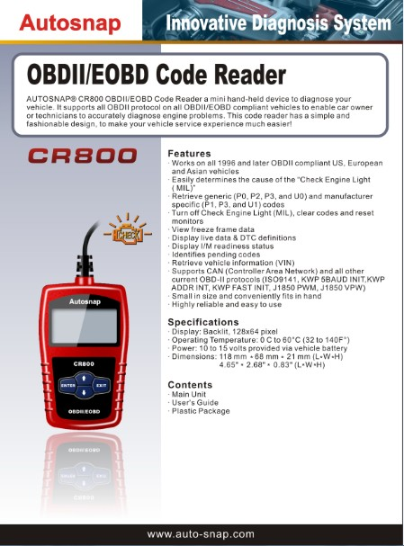 【Ship from UK】Autosnap CR800 OBDII EOBD MINI Code Reader
