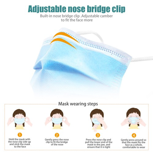 Hang-on Ear Disposable Face Mask Three Layers of Protection 100 PACK Free Shipping